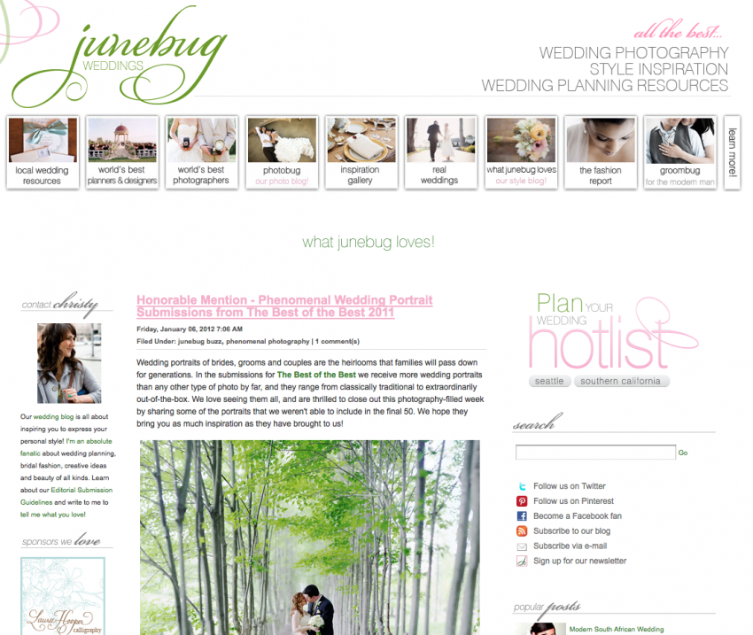 Junebug Weddings The Best of the Best 2011 Honorable Mention