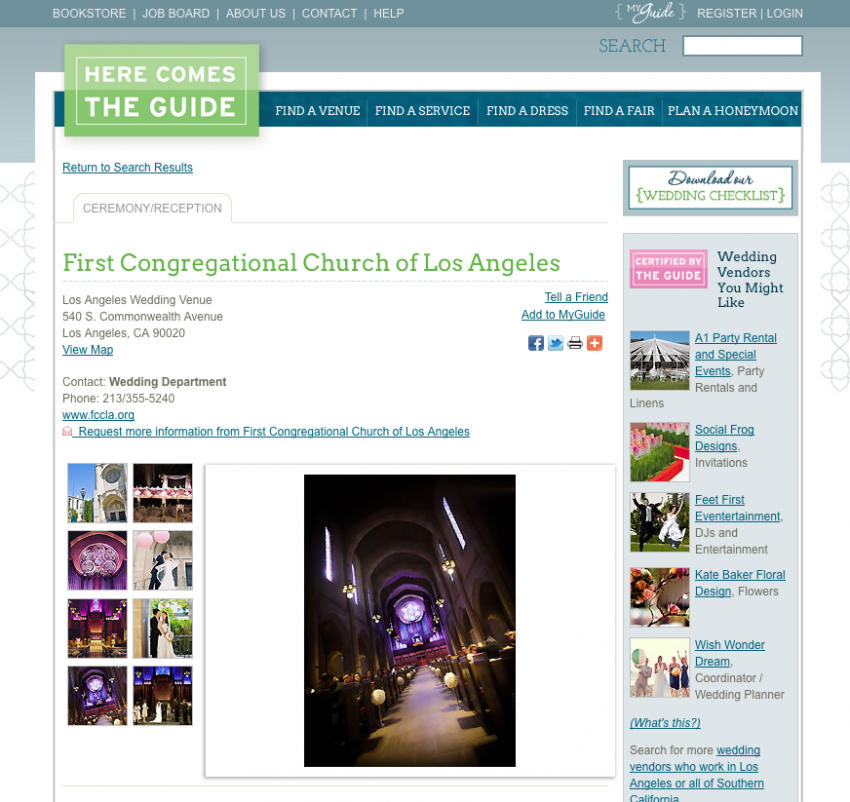 First Congregational Church of Los Angeles Wedding Photographer