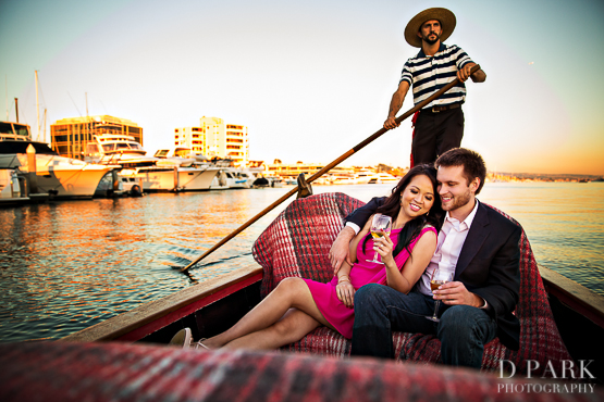newport bay engagement photographer gondolas