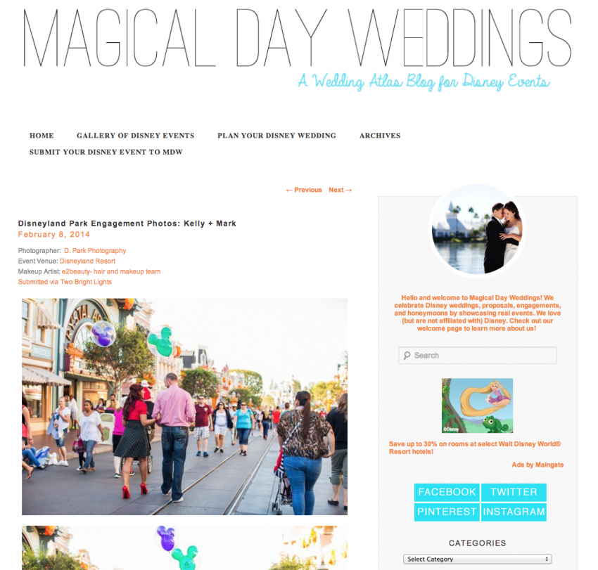 Disneyland Weddings Anniversary