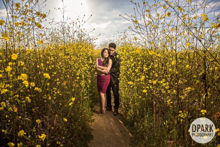yellow-flower-field-engagement-oc-la-photograph