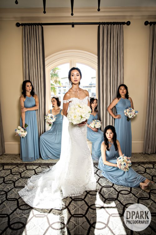 blue-grey-gray-chinese-bridesmaids-dresses-flowers